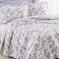 Laura Ashley Sperborne Raspberry Reversible Cotton 3-piece Quilt Set