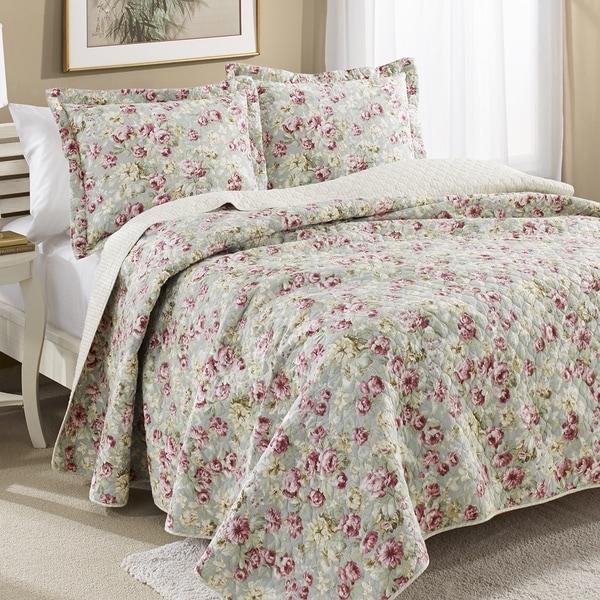 Laura Ashley Bloomsbury Reversible Cotton 3-piece Quilt Set