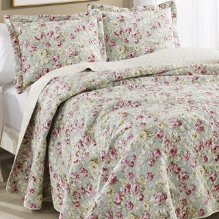 Laura Ashley Bloomsbury Reversible Cotton 3-piece Quilt Set