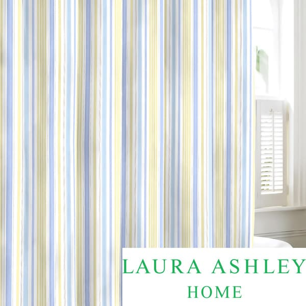 Laura Ashley Sommerset Neutral Cotton Shower Curtain Curtains