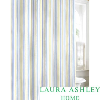 Laura Ashley Sommerset Blue Cotton Shower Curtain