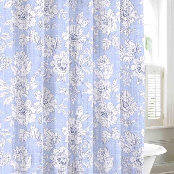 Laura Ashley Home Whitfield Drape Panels Reviews: Laura Ashley Iris Sky Cotton Shower Curtain