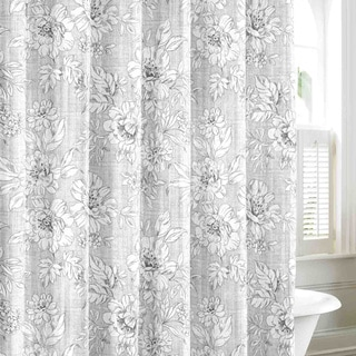 Laura Ashley Iris Grey Cotton Shower Curtain