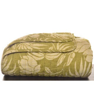 Tommy Bahama Plantation Floral Lime Quilted Throw