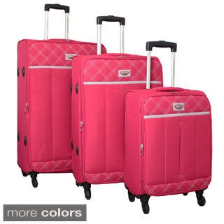 World Traveler Super Lightweight 3-piece Expandable Spinner Luggage Set