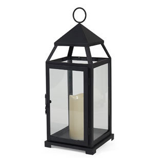 Elements Simple Black LED Candle Lantern