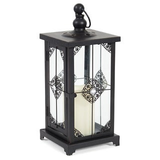 Elements Black Metal with Gems LED Candle Lantern