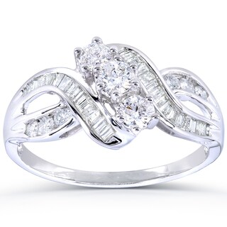 Annello 14k White Gold 1ct TDW Round and Baguette Diamond Curved Engagement Ring (H-I, I1-I2)