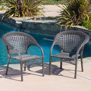 Christopher Knight Home Maria Grey Wicker Fan Back Outdoor Club Chair (Set of 2)
