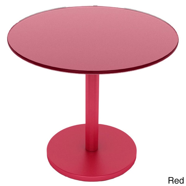 Circular Powder-coated Steel/ Glass Side Table