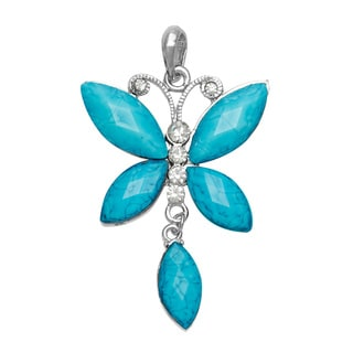 Turquoise Blue Crystal and Rhinestone Dangle Butterfly Pendant