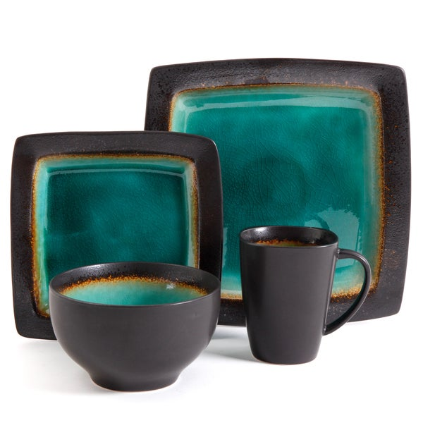 dinnerware set jade green black square dishes creamic dishes service