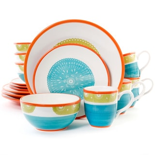 Abila Stoneware Teal and Green 16-piece Dinnerware Set