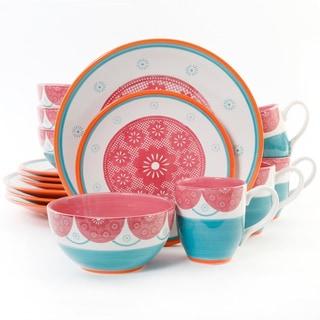 Evita Stoneware Magenta and Teal 16-piece Dinnerware Set