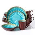 Gibson Elite Sillano Crackle Reactive Glaze Turquoise 16-piece Dinnerware Set