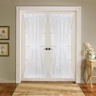 Lush Decor Duke White 72 inch Garden Door Panels Curtain Panel Pair