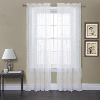 Lush Decor Duke Garden 84-inch White Curtain Panel Pair