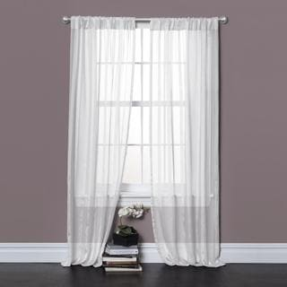 Lush Decor Rhythm White 84-inch Sheer Curtain Panel Pair