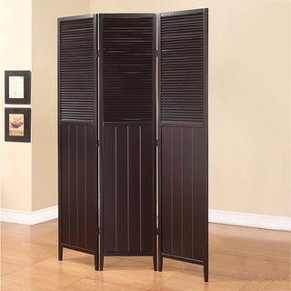 3-panel Dark Espresso Contemporary Screen Room Divider