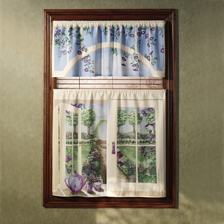 English Garden 36-inch Curtain Tier and Valance Set
