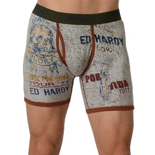 Ed Hardy Men's 'Glory Por Vida' Heather Grey Premium Boxer Briefs