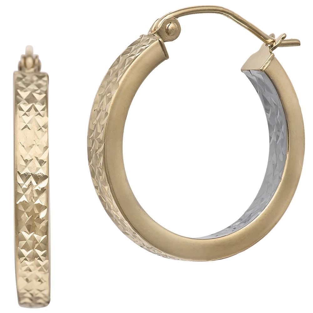 Gioelli Designs Gioelli 14k Two-tone Gold Inside Out Diamond Cut Hoop Earrings at Sears.com