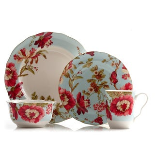 222 Fifth Spring Botanical 16-piece Porcelain Dinnerware Set
