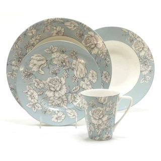 222 Fifth Country Toile Aqua 16-piece Porcelain Dinnerware Set