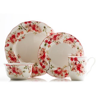 222 Fifth Cherry Blossom 16-piece Porcelain Dinnerware Set