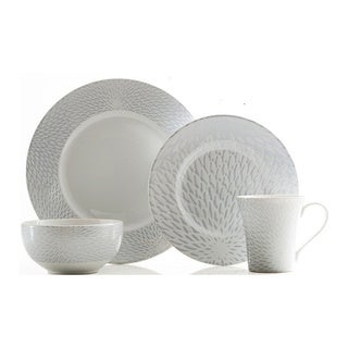 222 Fifth Astor Grey 16-piece Porcelain Dinnerware Set