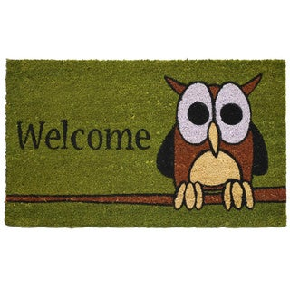 'Owl Welcome' Coir/ Vinyl Weather Resistant Doormat (1'5 x 2'5)