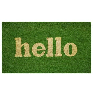 Hello Green/ Natural Coir Vinyl Backing Doormat (1'5 x 2'5)