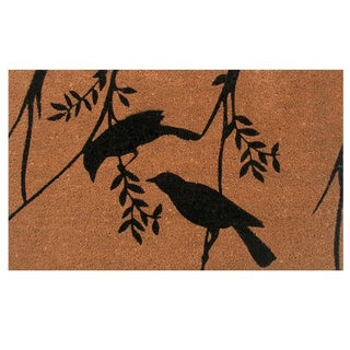 Rendezvous Natural/ Black Coir Vinyl Backing Doormat (1'5 x 2'5)