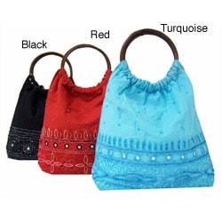 Handmade Indian Beaded Cotton Handbag with Wooden Handles (India)