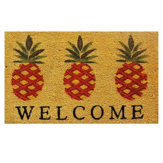 'Pineapple Welcome' Coir/ Vinyl Weather-resistant Doormat (1'5 x 2'5)