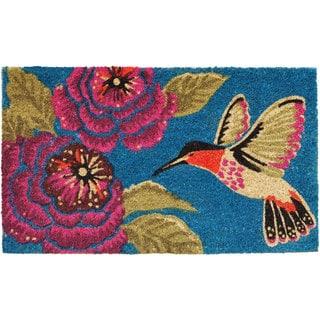 Hummingbird Delight Teal Coir Vinyl Backing Doormat (1'5 x 2'5)