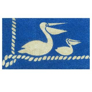 Pelicans Blue Coir Vinyl Backing Doormat (1'5 x 2'5)