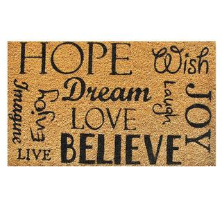 Hope Dream Believe Natural Coir Vinyl Backing Doormat (1'5 x 2'5)