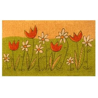 Summer Blooms Green Coir Vinyl Backing Doormat (1'5 x 2'5)