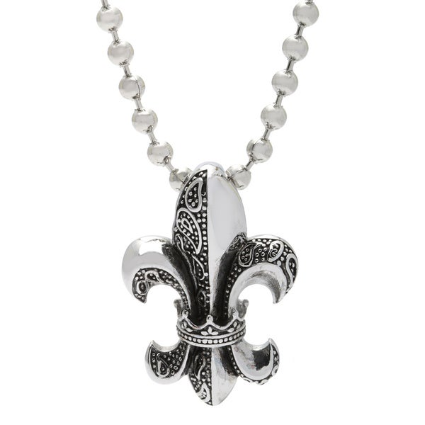 Spikes 316L Stainless Steel Royal Fleur De Lis Pendant Necklace