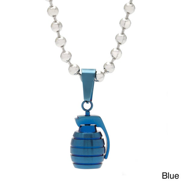 Spikes 316L Stainless Steel Hand Grenade Pendant Necklace