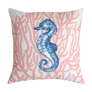 Turquoise Lagoon Coral Seahorse 19-inch Throw Pillow