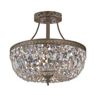 Richmond 3-light English Bronze/ Crystal Basket Semi Flush Pendant