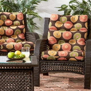 3-section Contemporary Outdoor High Back Chair Cushion (Set of 2)
