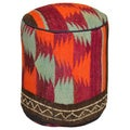 Decorative Wool Kilim Round Ottoman