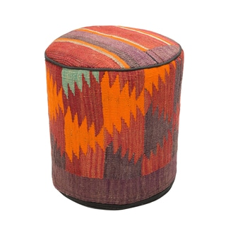 Decorative Wool Abstract Kilim Ottoman
