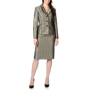 Danillo Women's Champagne and Black Single-breasted Skirt Suit