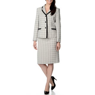 Danillo Women's Ivory and Black Textured Plaid Skirt Suit