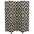 Hand-crafted 4-panel Black/ Natural Paper Straw Weave Screen