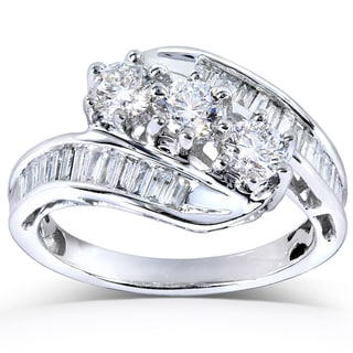 Annello 14k White Gold 1ct TDW Round and Baguette Diamond Engagement Ring (H-I, I1-I2)